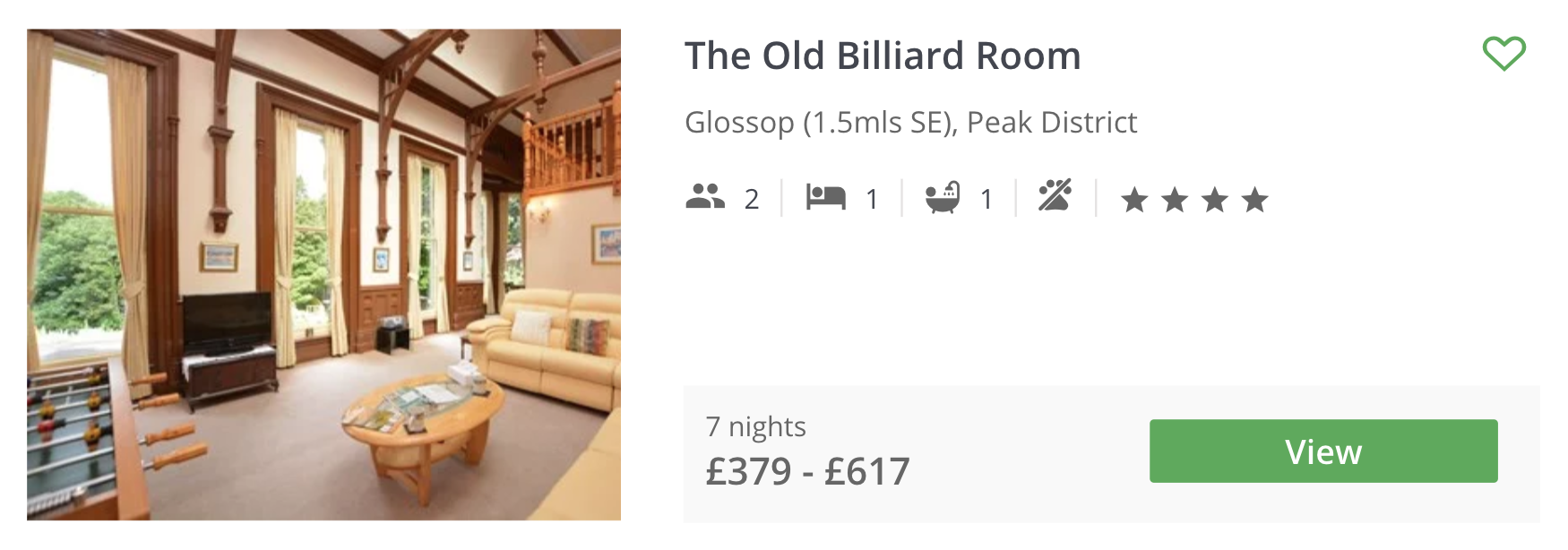 PEAK DISTRICT COTTAGE GUIDE - the old billiard room glossop